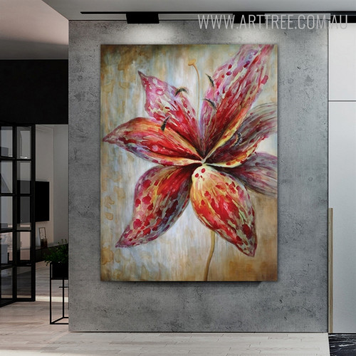Red Bloom Floral Modern Texture Floral Palette Knife Painting for Diy Wall Decor