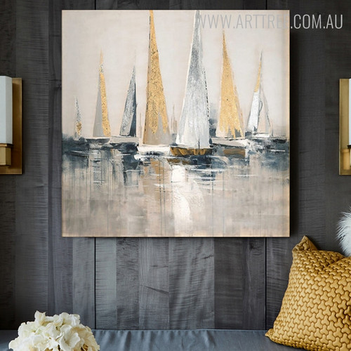 Calico Sailing Boat Modern Framed Heavy Texture Handmade Nature Portmanteau for Living Room Wall Tracery