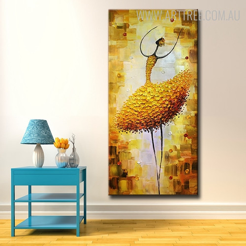 Dancer Girl Abstract Figure Modern Framed Knife Tableau on Canvas for Lounge Room Wall Outfit