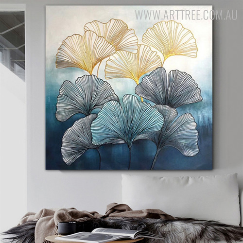 Line Leaves Abstract Framed Botanical Heavy Texture Handpainted Canvas for Modern Interior Design
