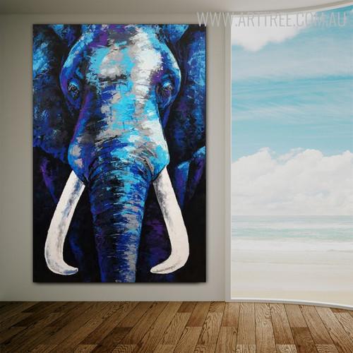 Blue Elephant Abstract Animal Framed Handmade Oil Vignette for Room Wall Adornment