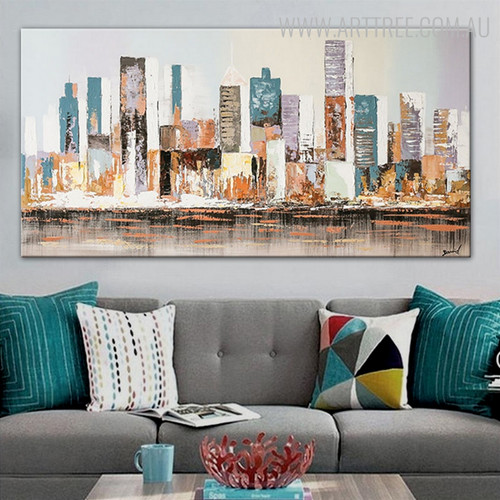 Empire State Building Cityscape Abstract Knife Delineation on Canvas for Wall Hanging Decor