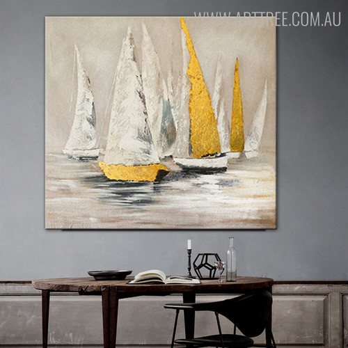 River Sailboat Abstract Framed Handmade Nature Portmanteau for Room Wall Embellishment