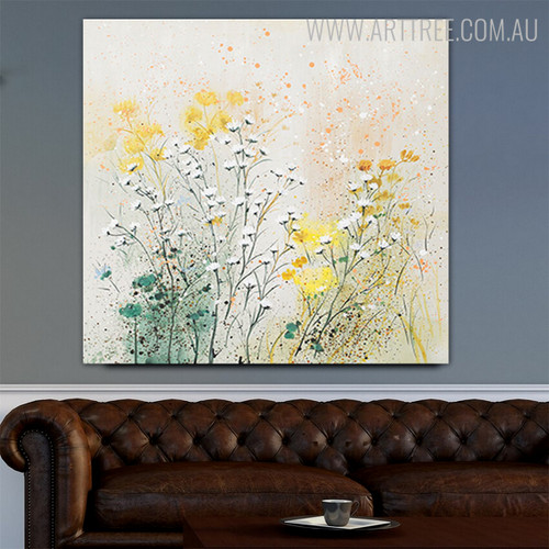 Little Blooms Abstract Modern Framed Handmade Canvas Art for Room Wall Getup