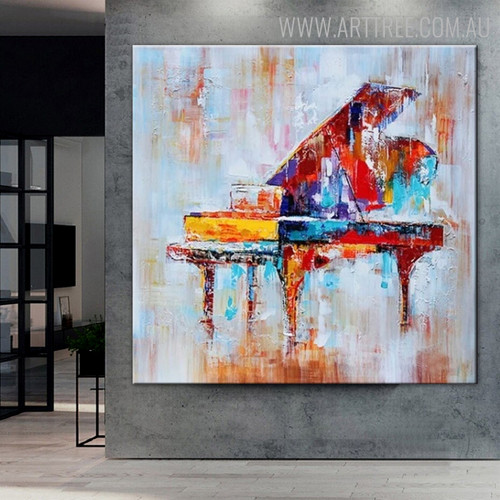 Piano Abstract Heavy Texture Framed Heavy Texture Artwork for Room Wall Getup