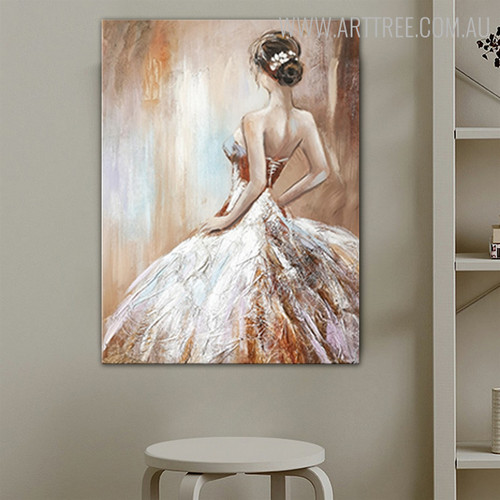Girl Halter Dress Abstract Modern Heavy Texture Figure Handpainted Oil Painting for Room Wall Outfit