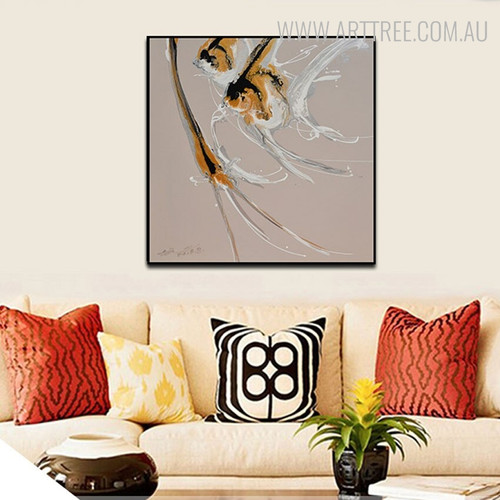 Gold Fishes Abstract Animal Modern Framed Handpainted Oil Painting for Room Wall Adornment