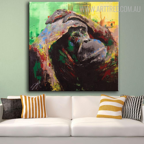 Wild Monkey Abstract Animal Framed Handmade Oil Painting for Room Wall Disposition