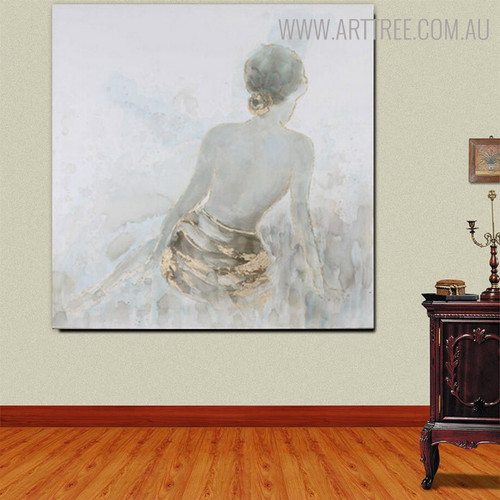 Sexual Girl Back Abstract Heavy Texture Framed Artwork for Wall Decoration