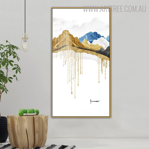 Hillsides Nature Mountainscape Framed Handmade Oil Painting for Wall Drape