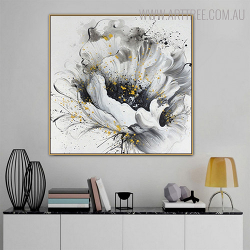 White Rose Abstract Botanical Framed Portrayal for Room Wall Disposition