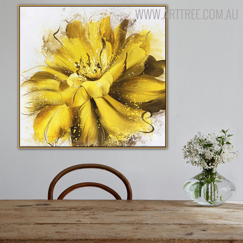 Marigold Abstract Botanical Framed Smudge for Dining Room Wall Decor