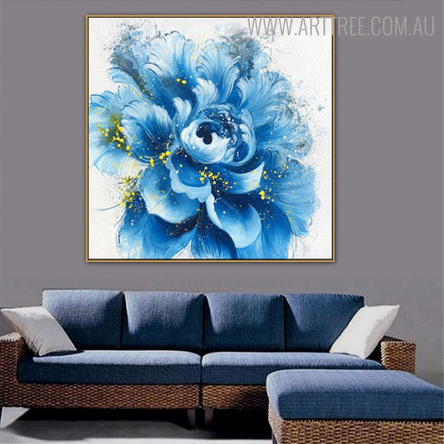 Blue Blossom Abstract Botanical Framed Smudge for Room Wall Garniture