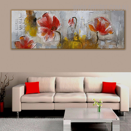 Red Flowers Abstract Floral Panoramic Framed Painting for Wall Hanging Decor