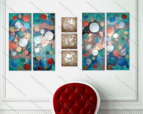 split oil painting Multicolor dots