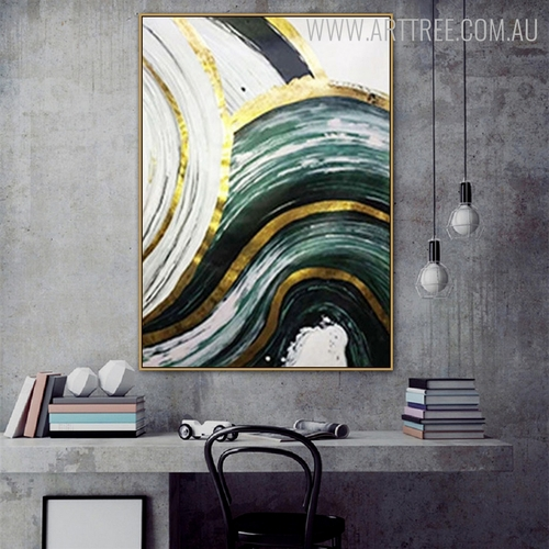 Curved Brush Effect Modern Abstract Framed Painting for Room Wall Getup