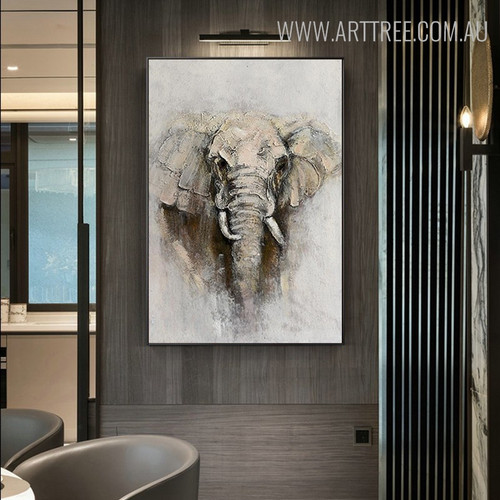 Wild Elephant Animal Modern Knife Painting for Room Wall Ornament