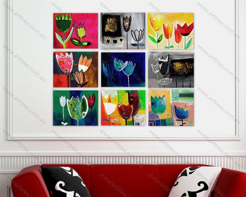 Abstract 9 Panel Painting
