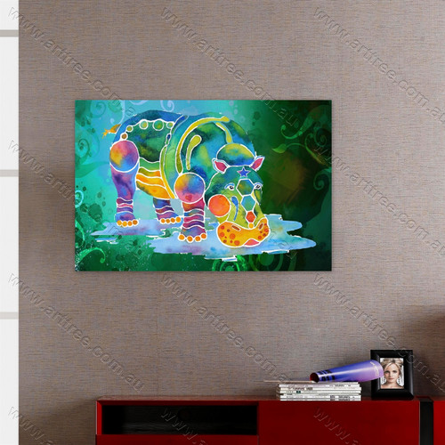Colorful Hippopotamus Print