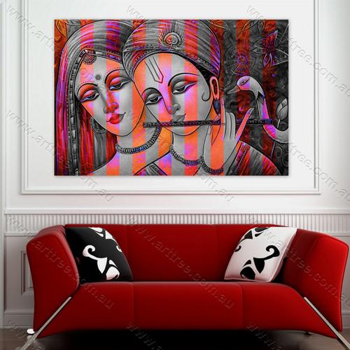 Radha Krishna & Duck Print