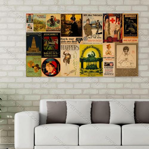 Hunger Vintage Poster Collage