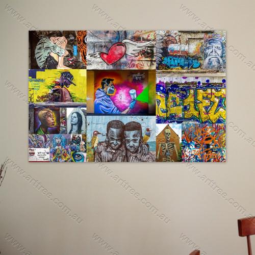 Flying Heart Urban Graffiti Collage