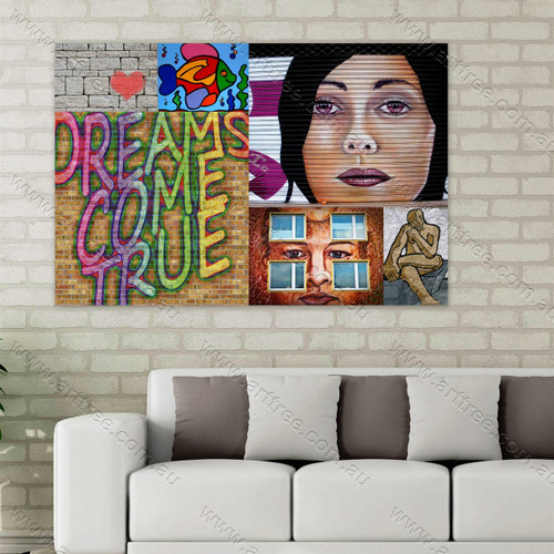 Dreams Come True Urban Street Art Collage