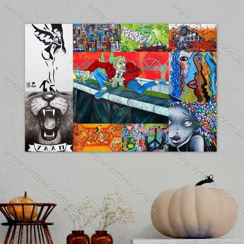 Live Upside Down Street Art Collage