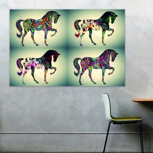 Abstract Floral Horse Animal