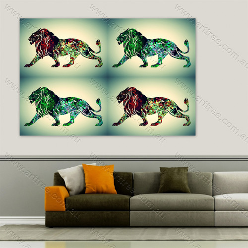 Abstract Green Hair Lion