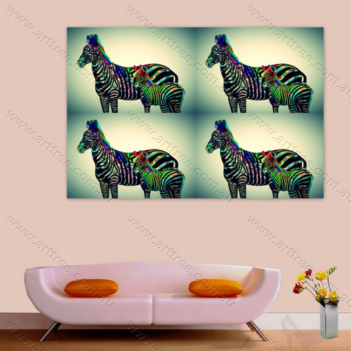 Blackish Zebra with Baby Zebra Art