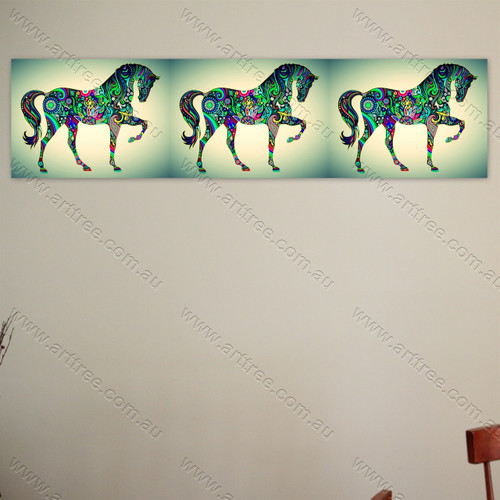 Rainbow Pattern Horse Animal 01
