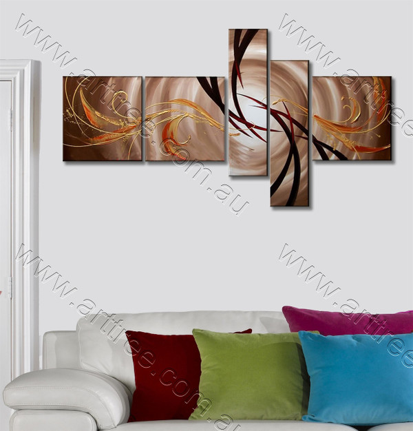 Colorful Stripe Pattern Abstract Oil Painting