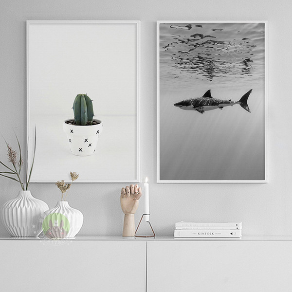 Under Water Shark Sea Creature, Cactus Plant Canvas Print