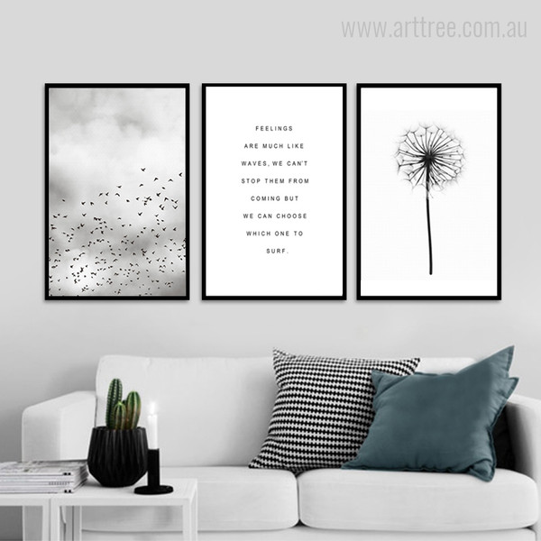 Minimal Flying Birds Feelings Quote Flower Abstract Art