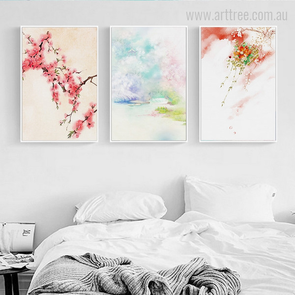Cherry Blossoms Japanese Mountain Floral Print