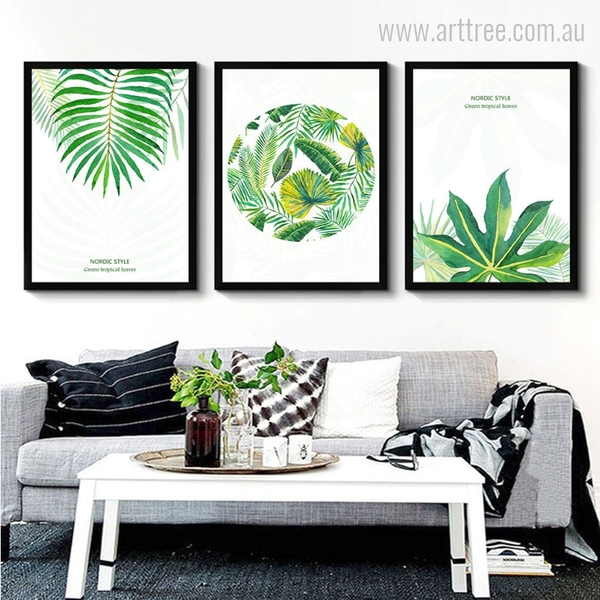 New Watercolor Green Tropical Leaves Wall Art Set