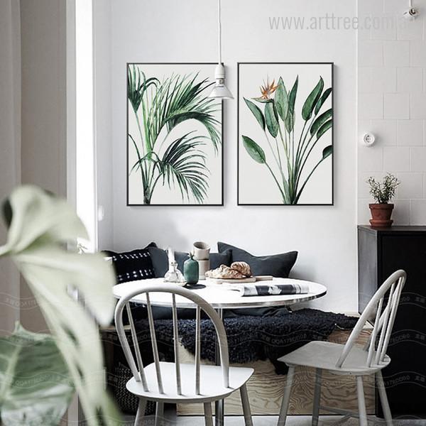 Green Areca Palm, Bird of Paradise Leaves Green Wall Art Prints