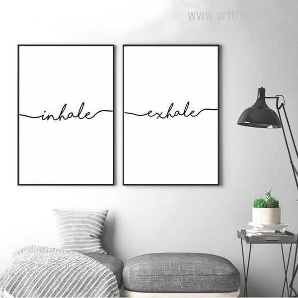 Black & White Minimalist Inhale Exhale Letters Artwork