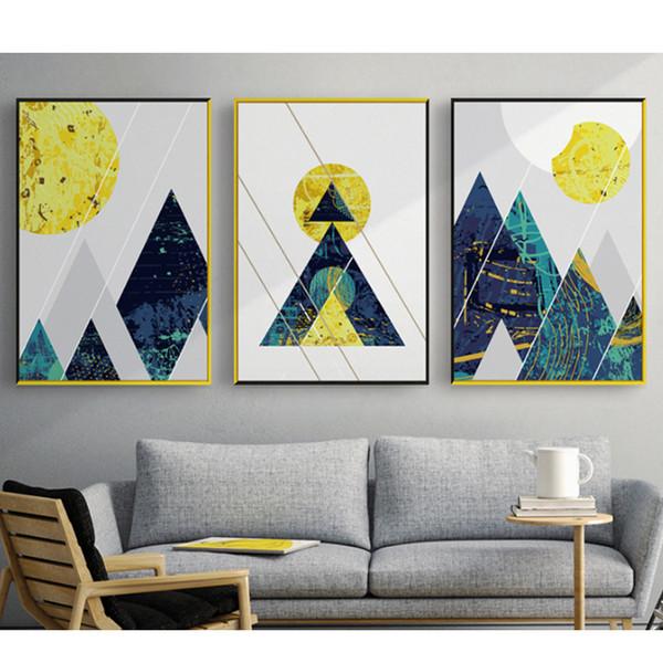 Abstract Geometric Line Mountain Round Sun Figures