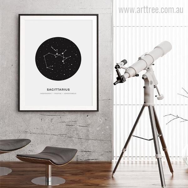 Sagittarius zodiacal Constellation Independent, Positive, Adventurous Print