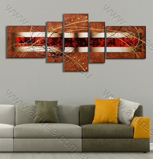 Brown Red Centered modern abstract oil painting