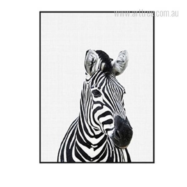 Kawaii Black and White Zebra Animal Cute Canvas Print