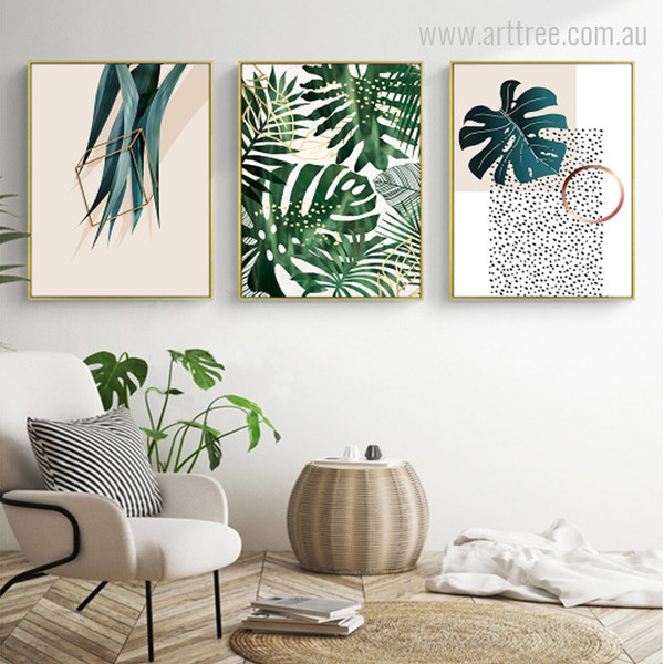 Green Split Leaf Philodendron Plants Photo Canvas Prints