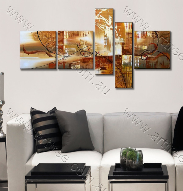 Brown Textured City Canvas Painting