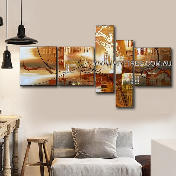 Brown Textured Beautiful City Abstract Retro 5 Piece Multi Panel Canvas Oil Painting Wall Art Set For Room Embellishment