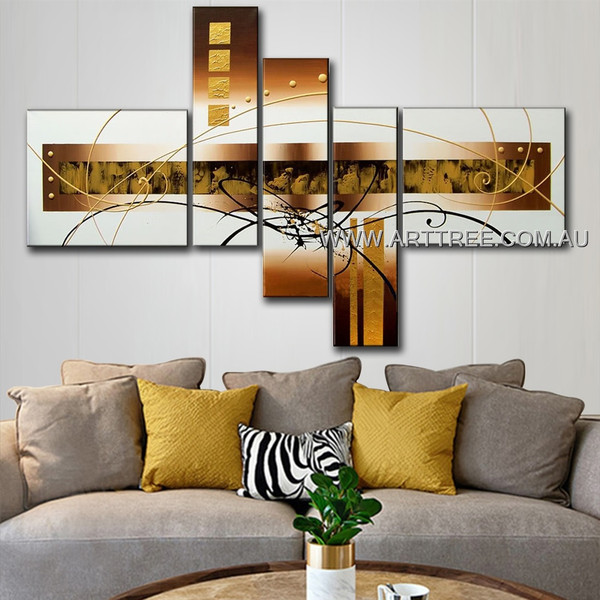 Brown Base Box Streaks & Dot Abstract Modern 5 Piece Multi Panel Canvas Oil Painting Wall Art Set For Room Drape