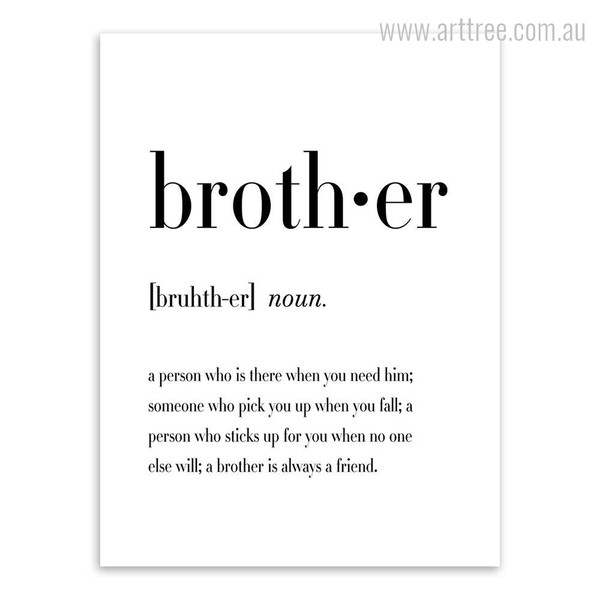 Brother Definition Family Quote Black and White Print