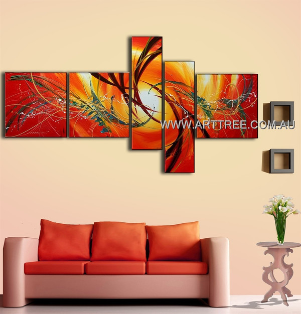 Unique Brown Streaks Abstract Modern 5 Piece Split Complementary Paintings Wall Art Set For Room Disposition