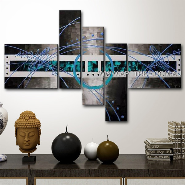 Grey Base Blue Circle Center Design Abstract Modern 5 Piece Split Oil Paintings Wall Art Set For Room Assortment